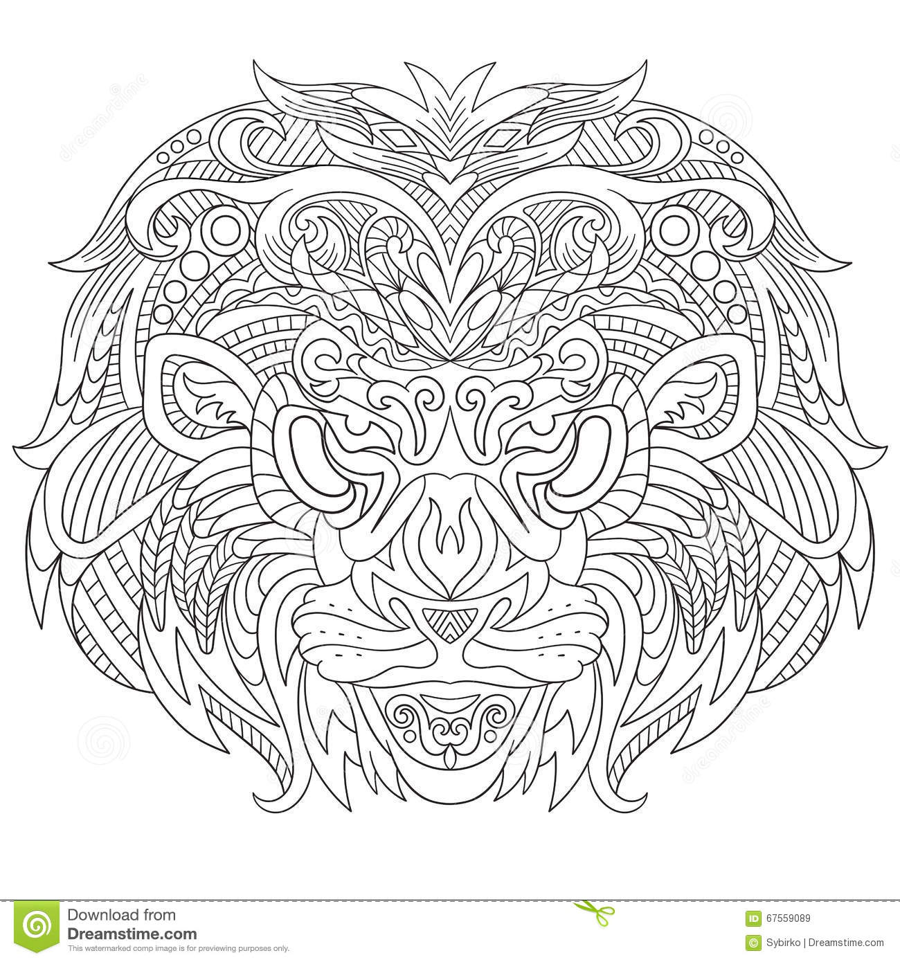 Coloring book for adults lion - Zentangle Stylized Face Of Lion