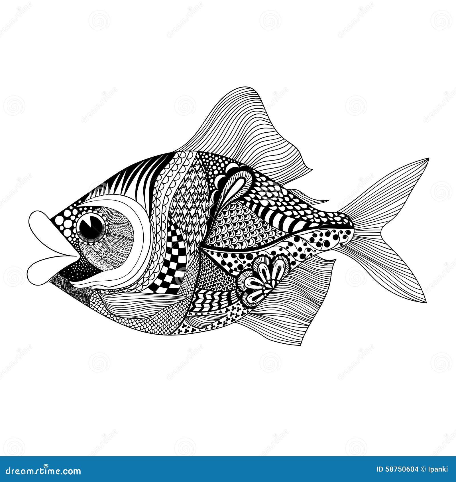 Zentangle Stylized Fish. Hand Drawn Doodle Vector Illustration I Stock ...