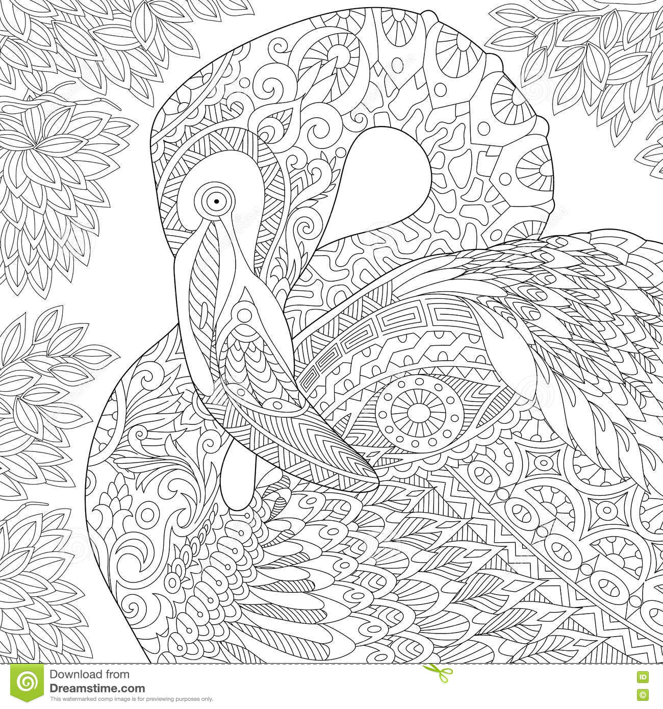 Zentangle Stylized Flamingo Stock Vector Illustration