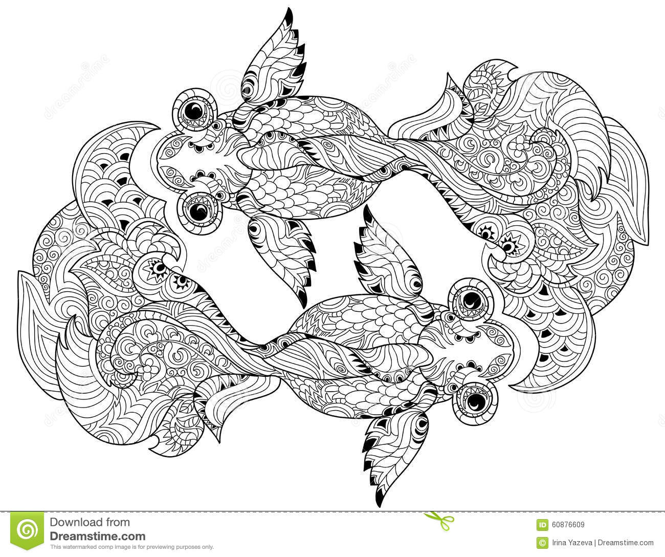 Zentangle Stylized Floral China Fish Doodle Stock Vector