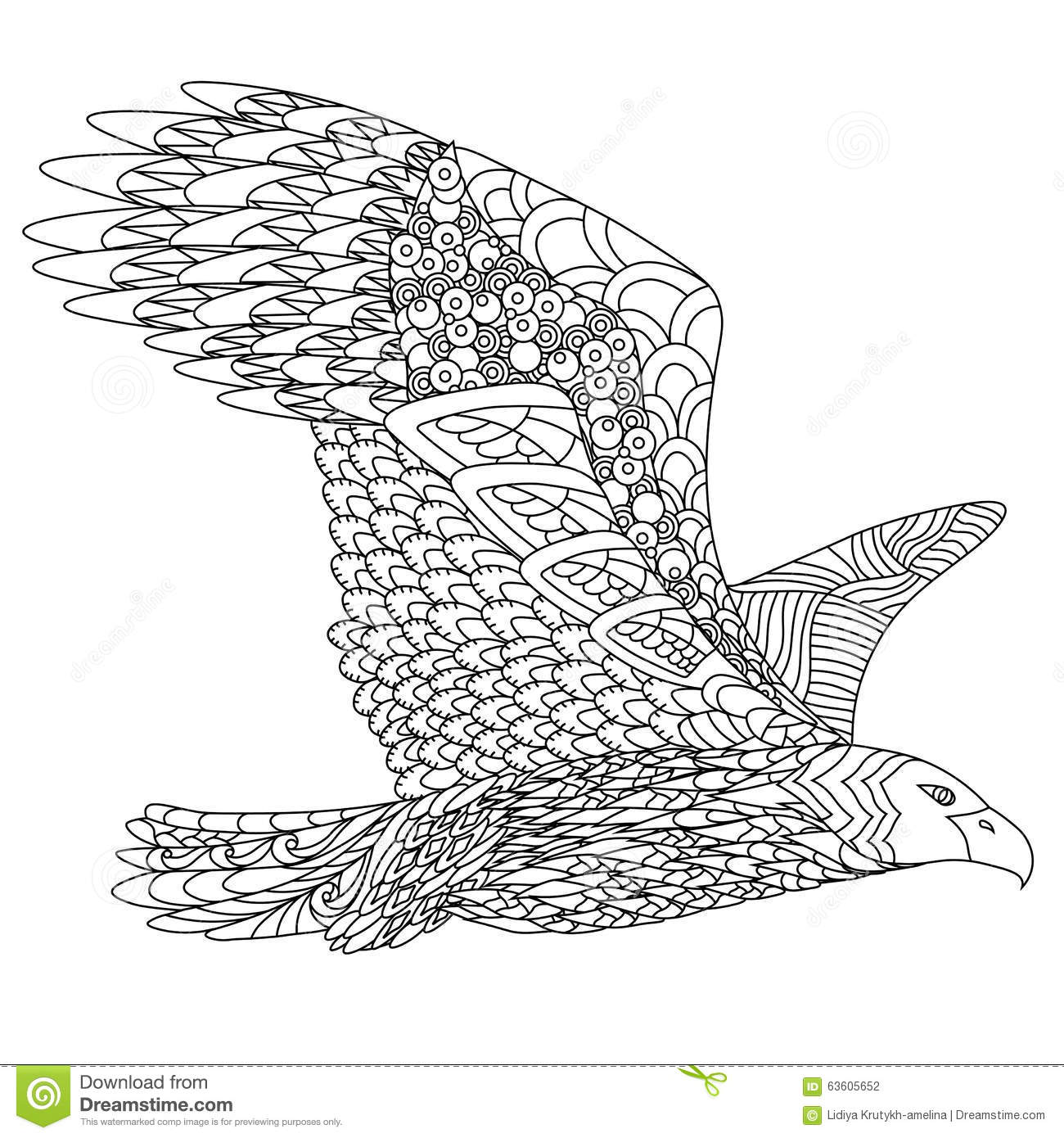 zentangle stylized flying eagle hand drawn doodle vector illustration isolated white background sketch tattoo indian 63605652