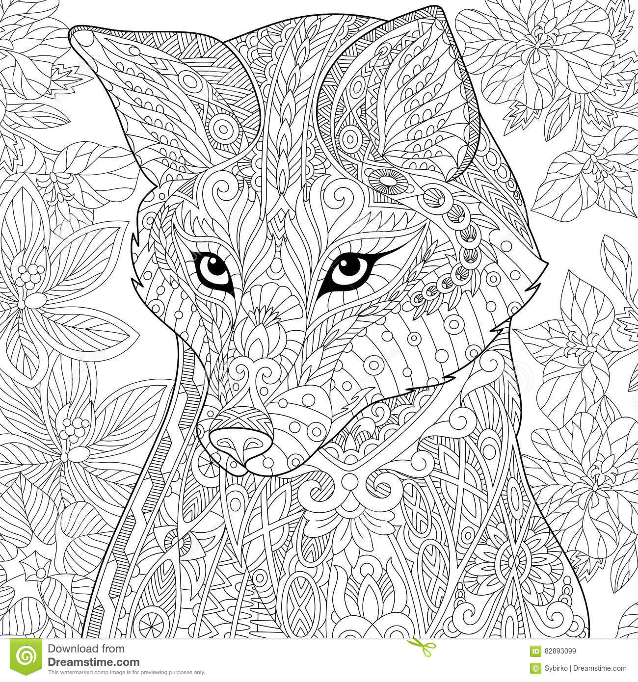 Stress Coloring Pages Animals : Zentangle stylized fox stock vector illustration of eyes
