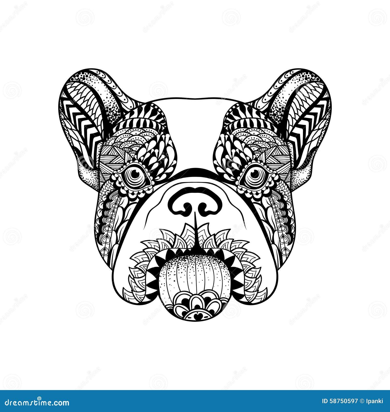 Pinterest Bassethound Kleurplaten Voor Volwassenen Zentangle Stylized French Bulldog Face Hand Drawn Dog