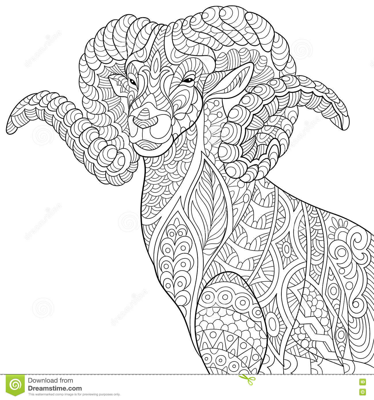 6dbb603b6 Zentangle stylized cartoon goat (ram, ibex, aries or capricorn zodiac).  Hand drawn sketch for adult antistress coloring page, T-shirt emblem, logo  or tattoo ...