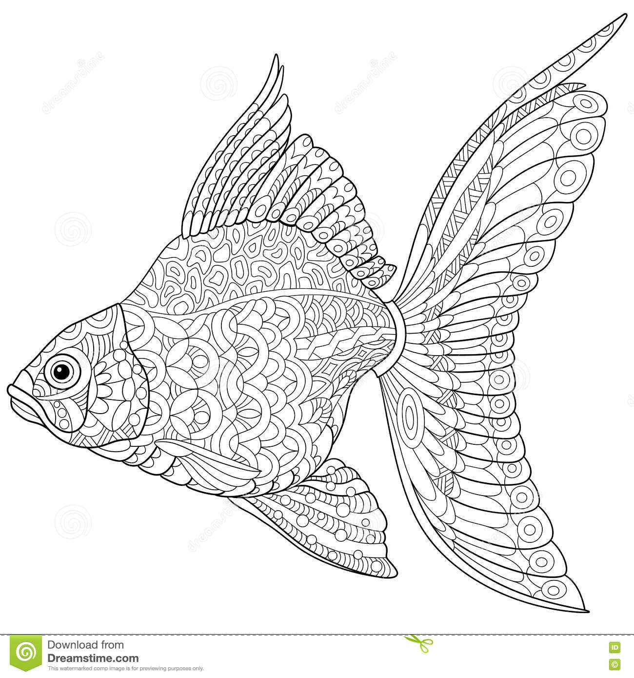 goldfish coloring book vector for adults stock vector image