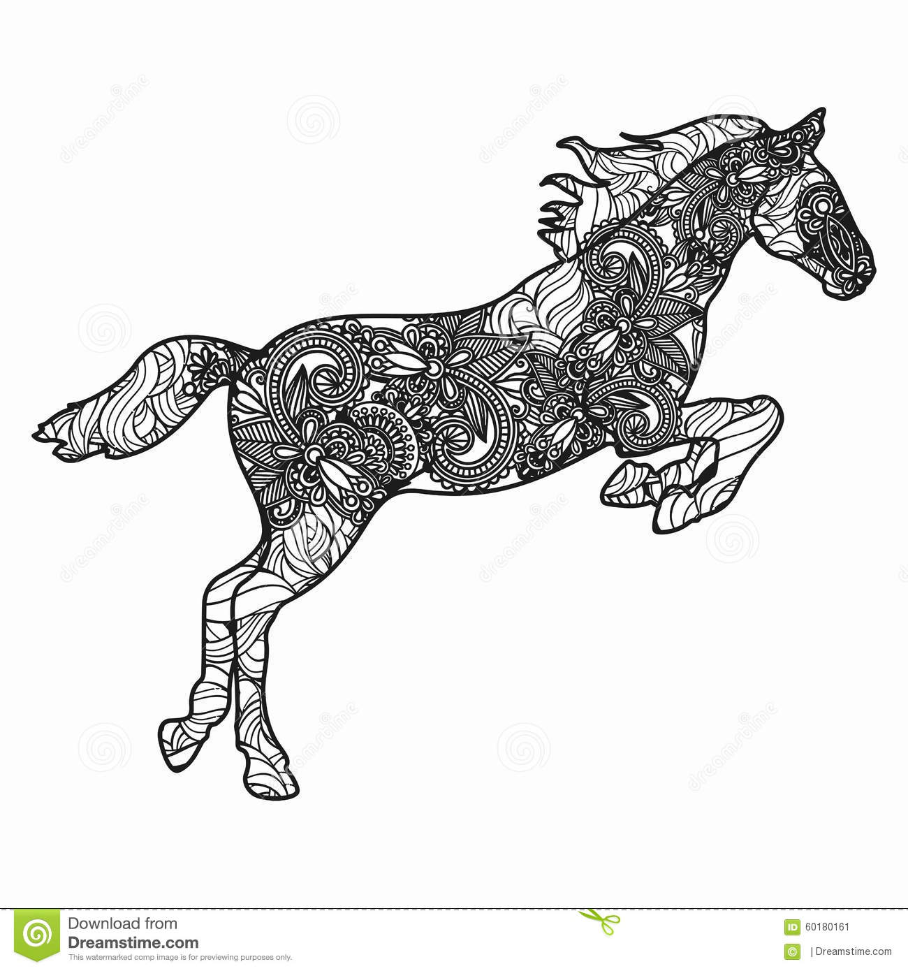 Abstract Horse Coloring Pages : Zentangle stylized horse illustration hand drawn doodle