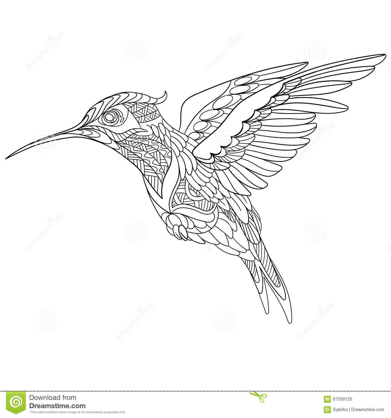Zentangle Stylized Hummingbird Stock Vector