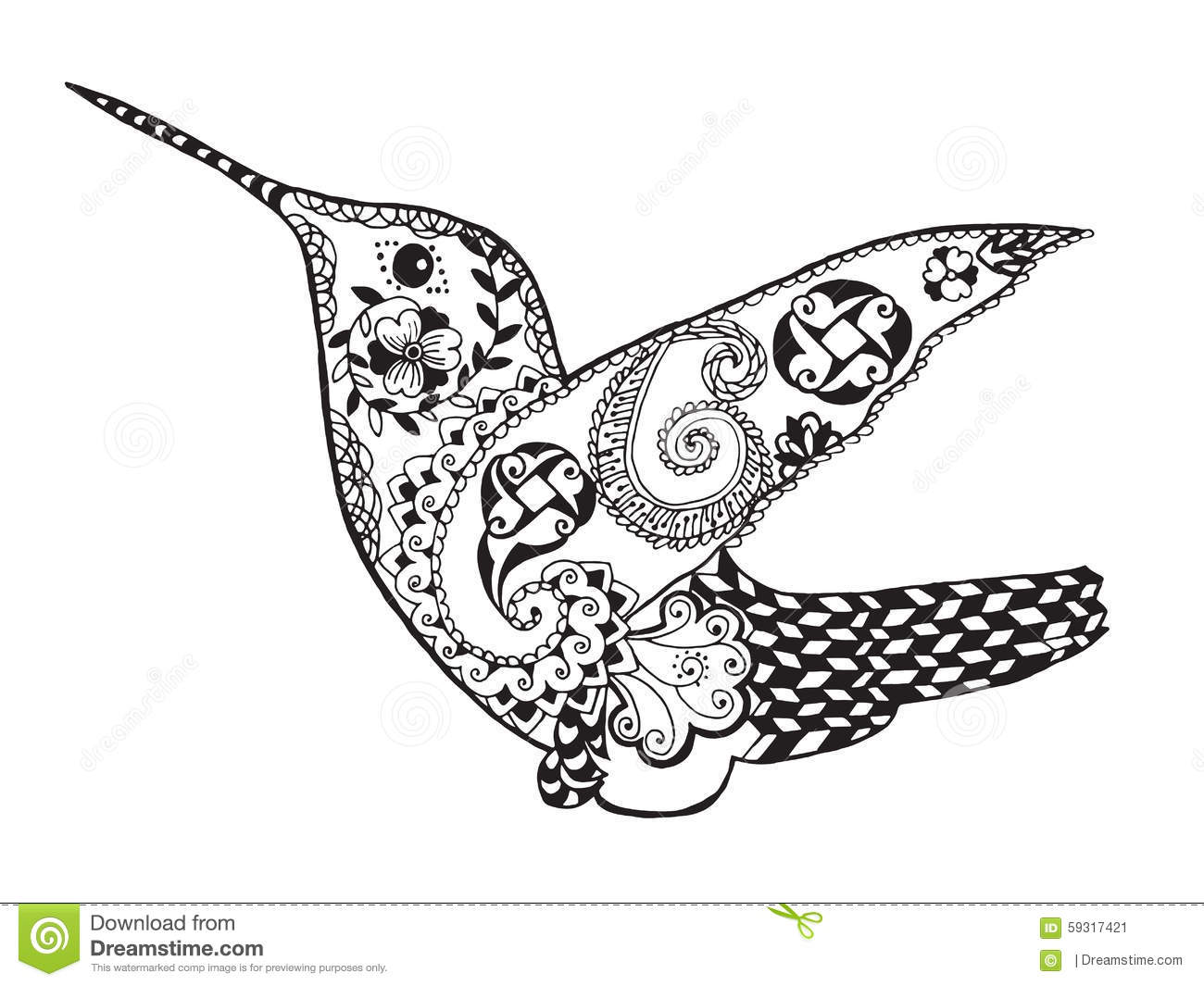 Zentangle Stylized Hummingbird Sketch For Tattoo Or T shirt Stock