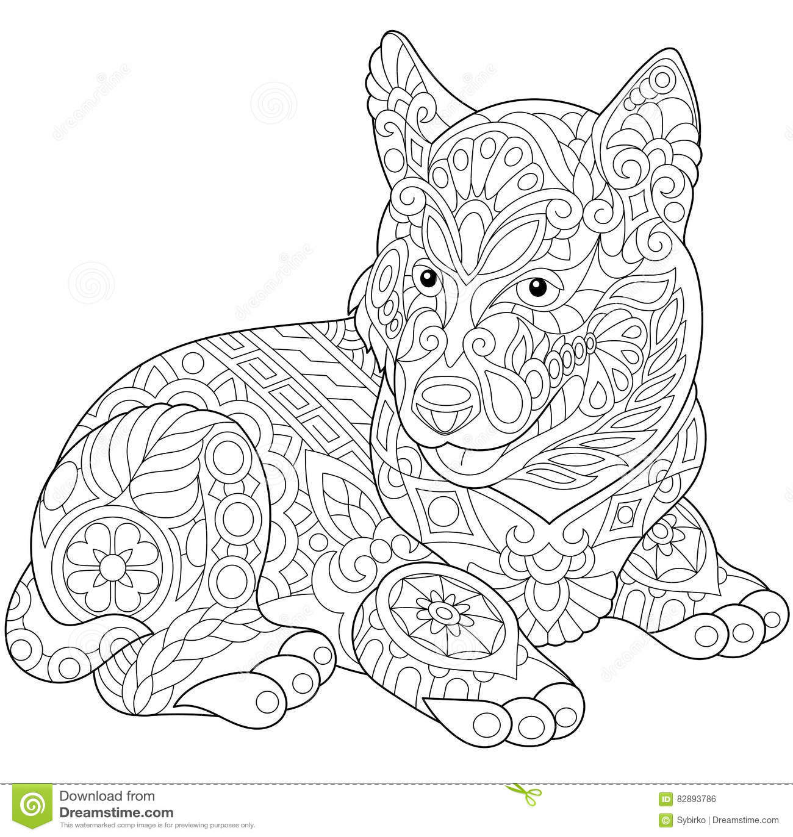 Zentangle Stylized Husky Stock Vector Illustration Of
