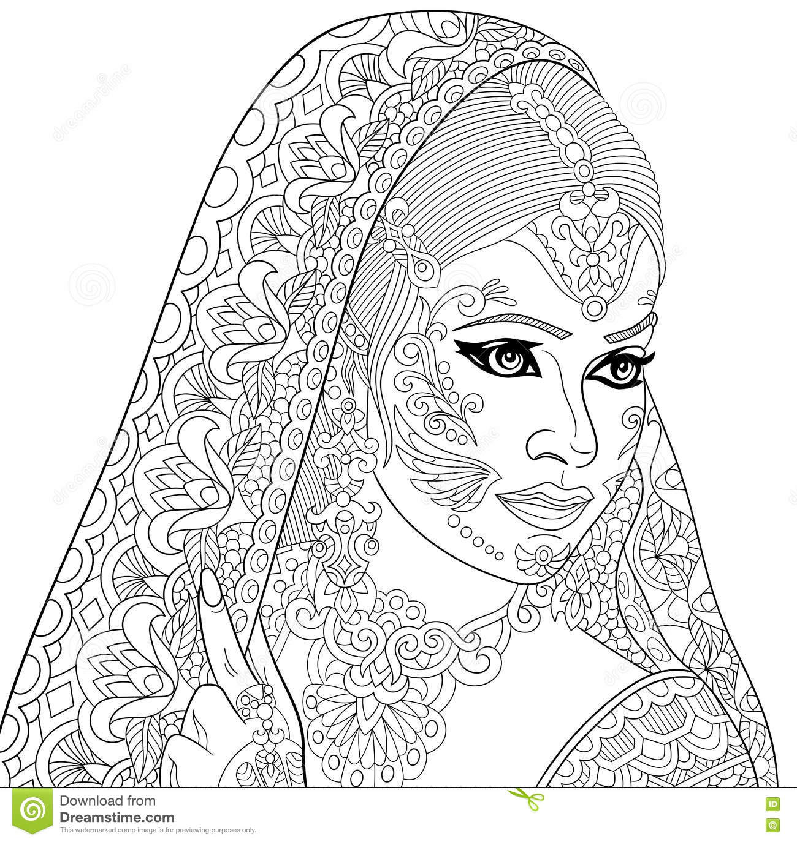 Zentangle Stylized Indian Woman Stock Vector