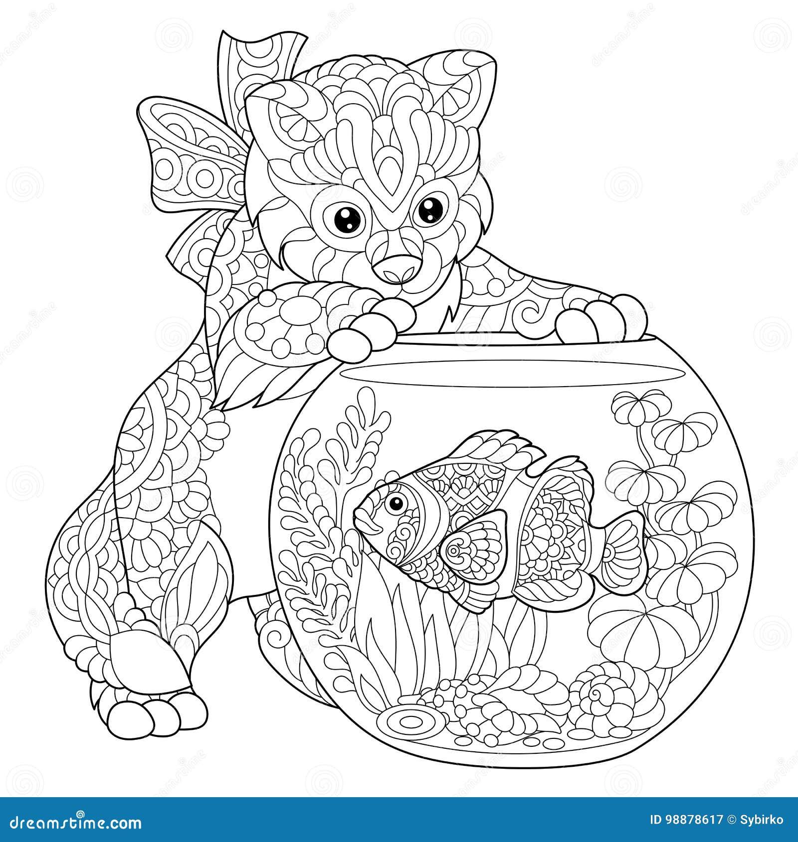 Zentangle Stylized Kitten And Clown Fish Stock Vector - Illustration ...