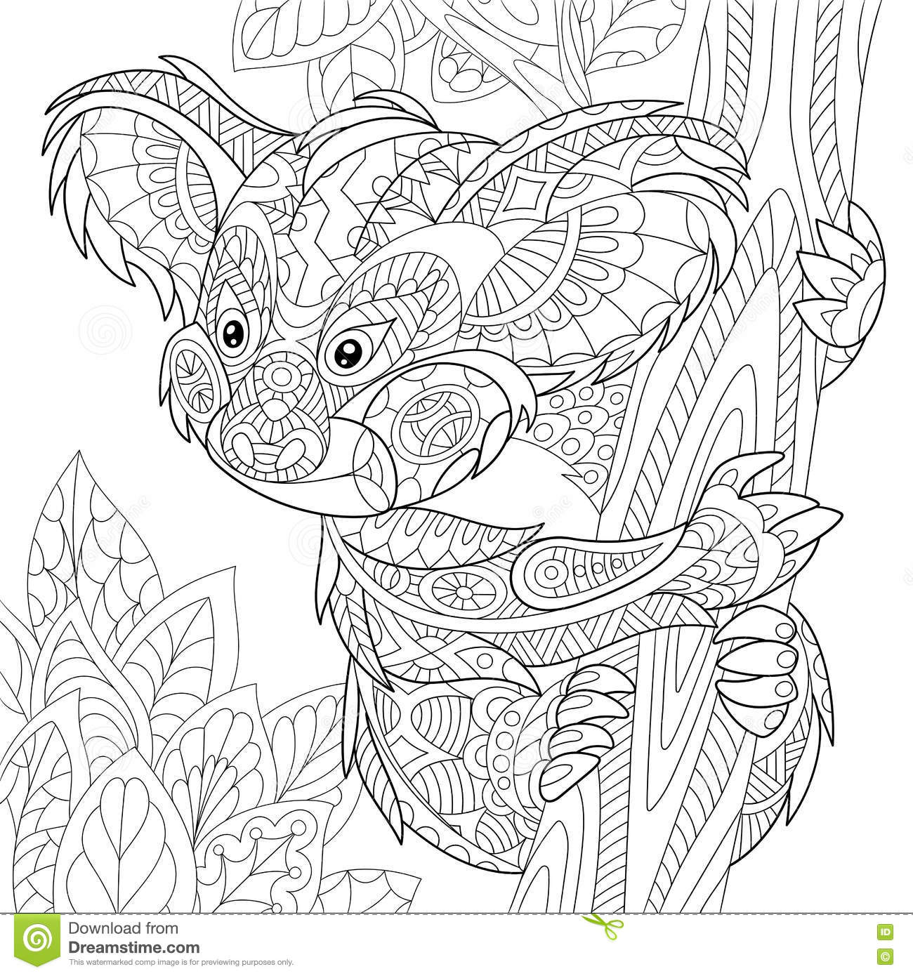 Zentangle Stylized Koala Bear Stock