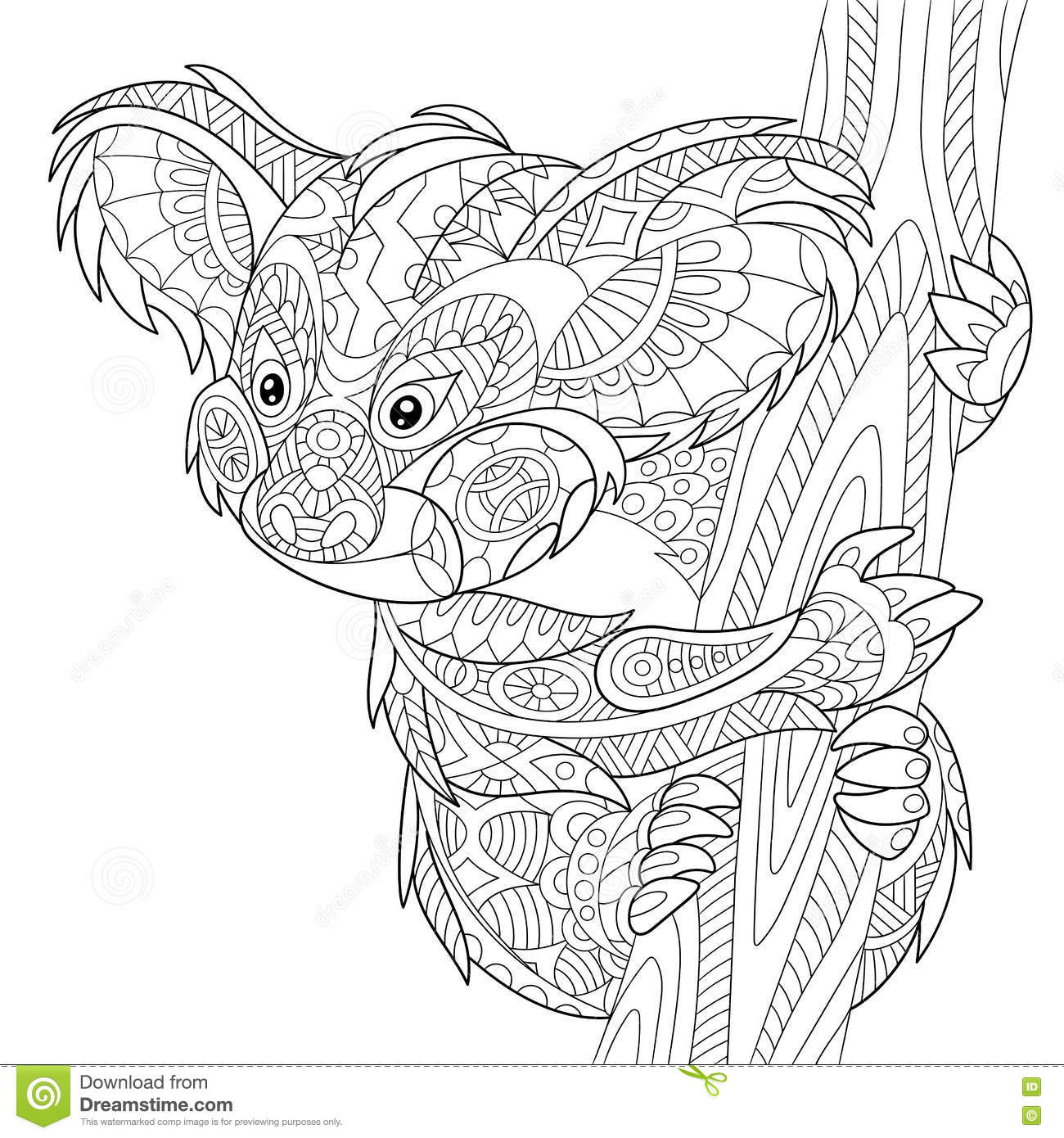 zentangle stylized koala stock vector illustration