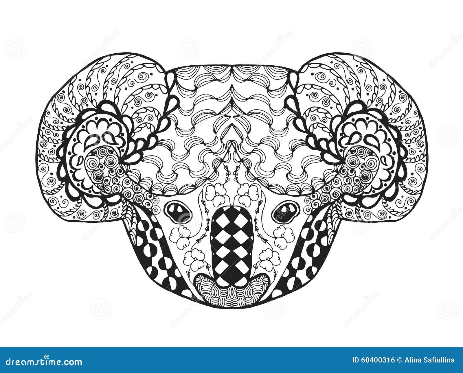 zentangle stylized koala head sketch tattoo t shirt adult antistress coloring page black white hand drawn doodle animal