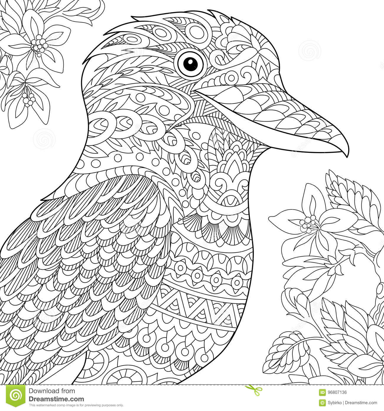 Zentangle Stylized Kookaburra Bird Stock Vector