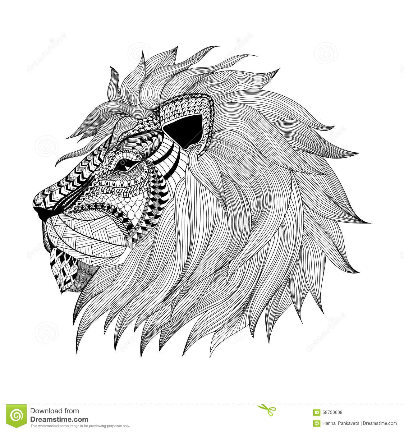 Zentangle Stylized Lion Face Hand Drawn Doodle Vector