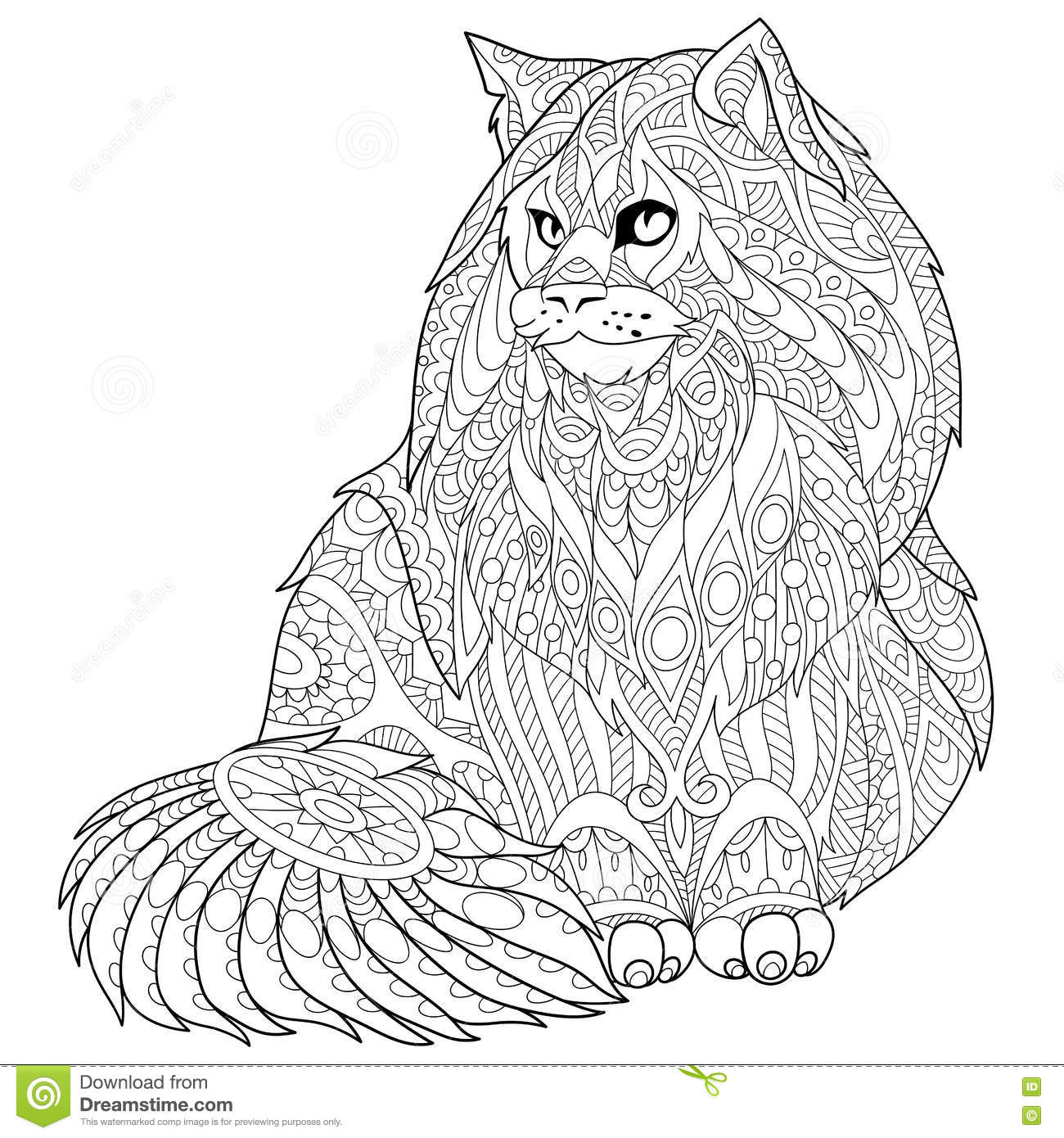 Zentangle Stylized Maine Coon Cat Stock Vector Image