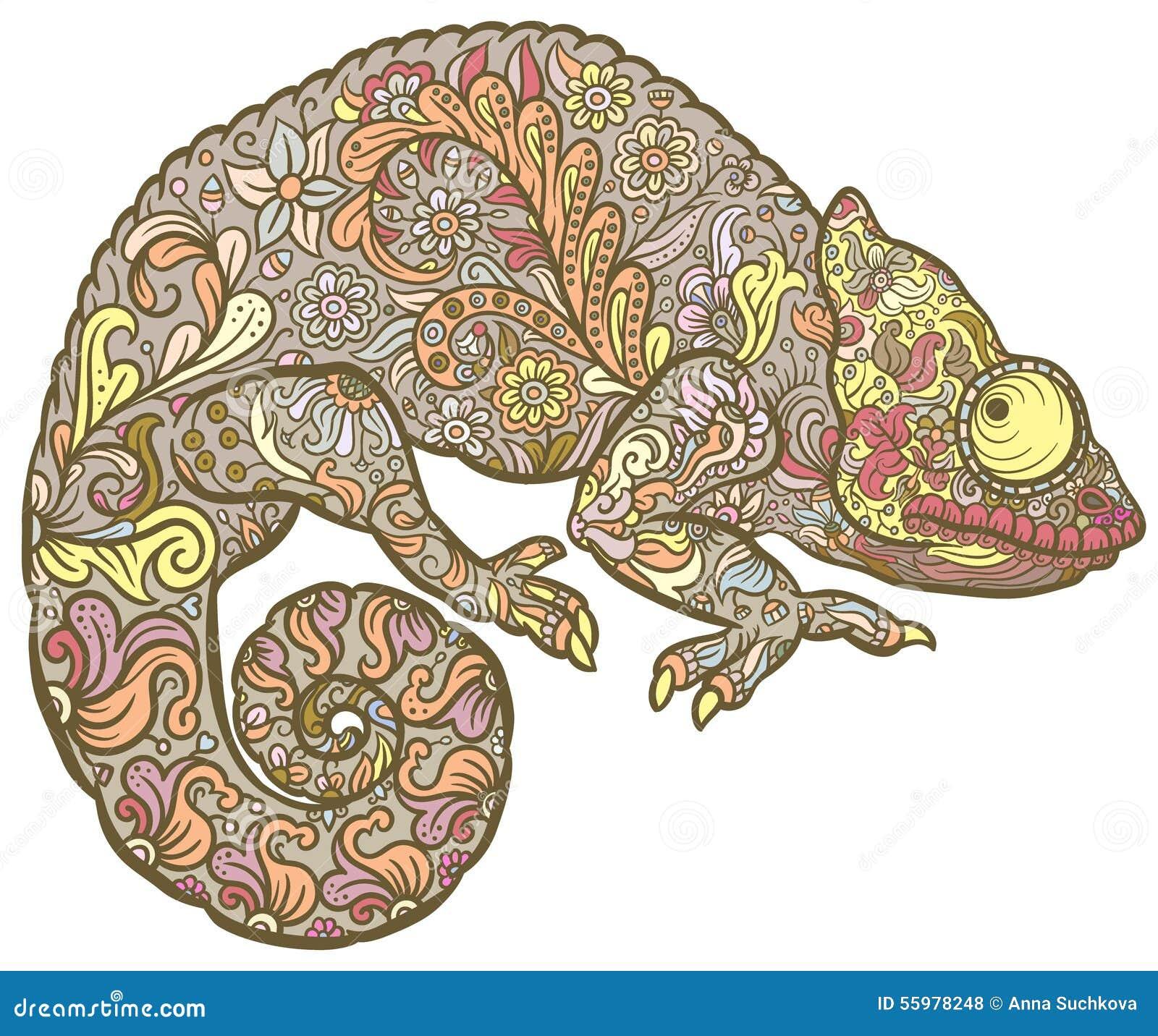 zentangle stylized multi coloured chameleon stock vector