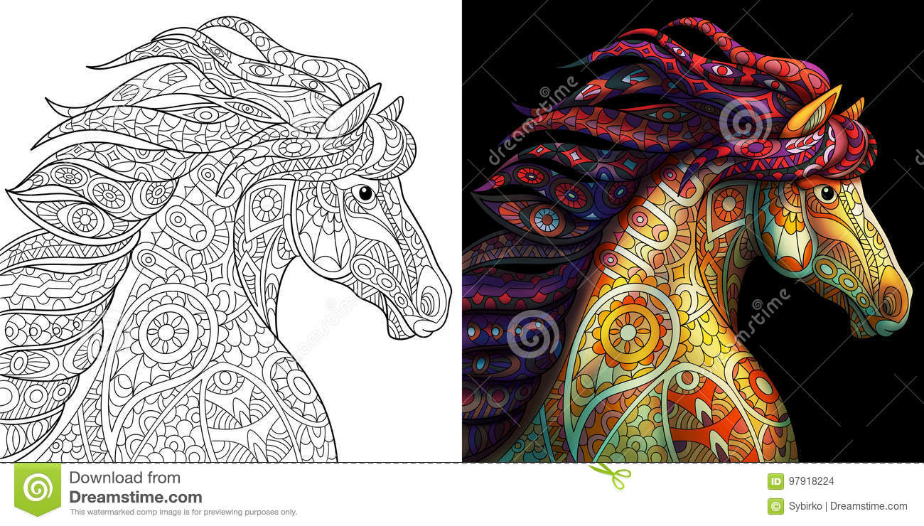 Zentangle Stylized Mustang Horse Stock Vector