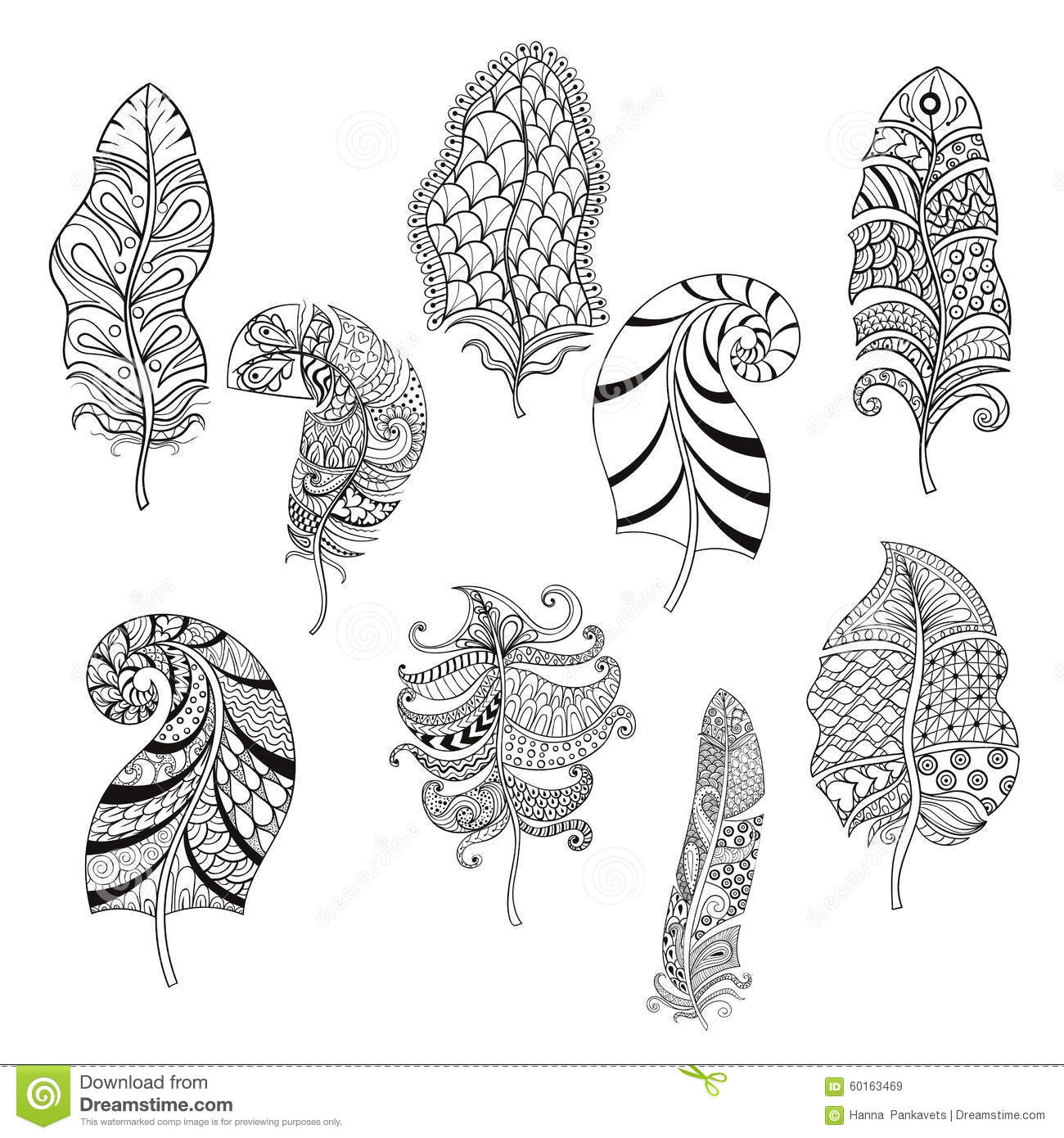 Zentangle Stylized Nine Feathers For Coloring Page Stock