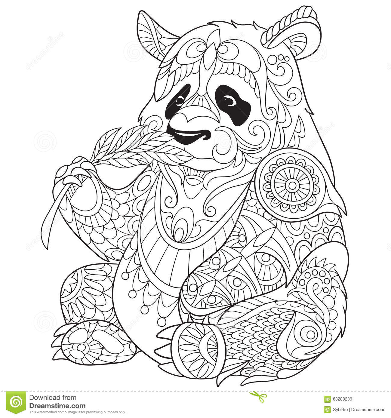 zentangle stylized panda stock vector illustration of