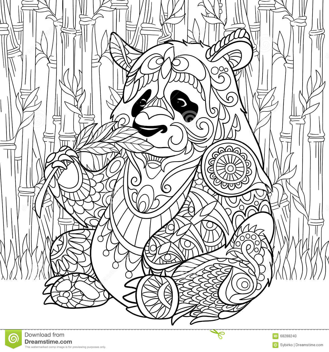zentangle stylized panda stock vector image 68288240