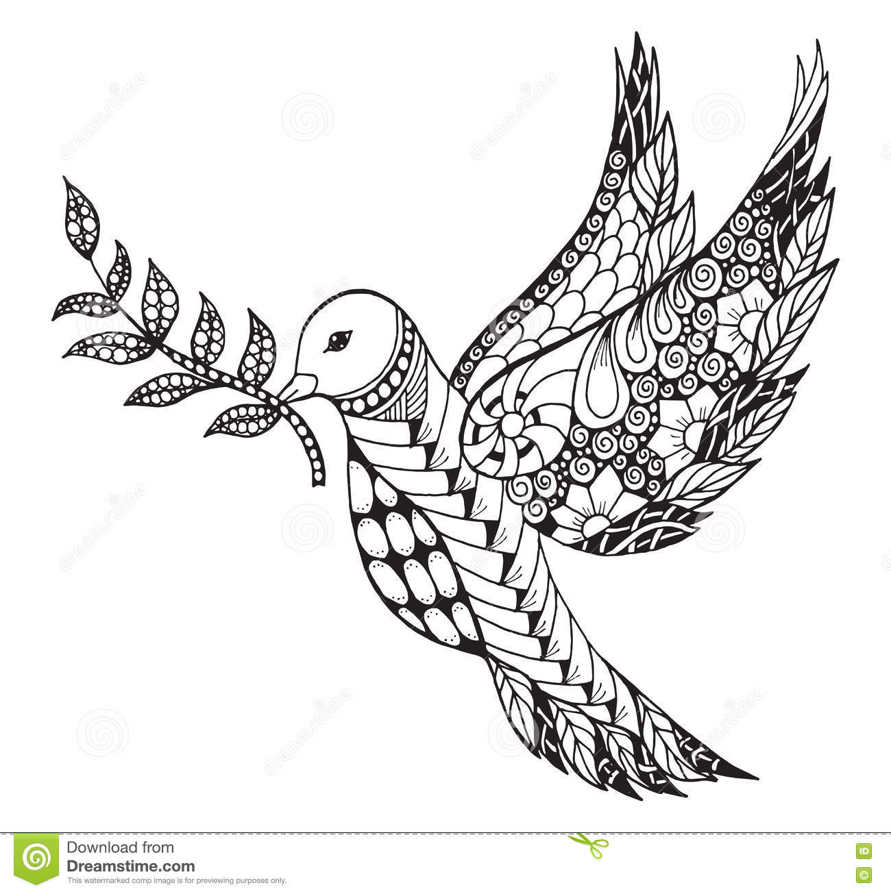Zentangle Stylized Peace Dove With Olive Branch For