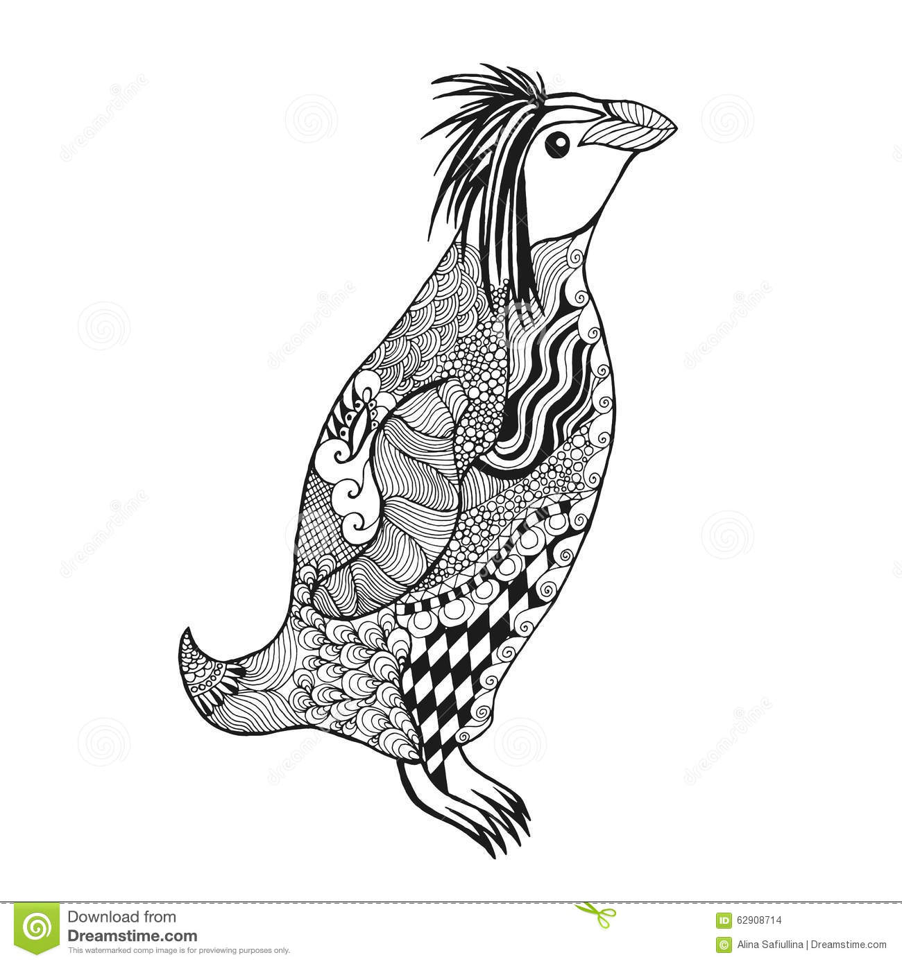 Zentangle stylized penguin stock vector illustration of for Penguin adult coloring pages