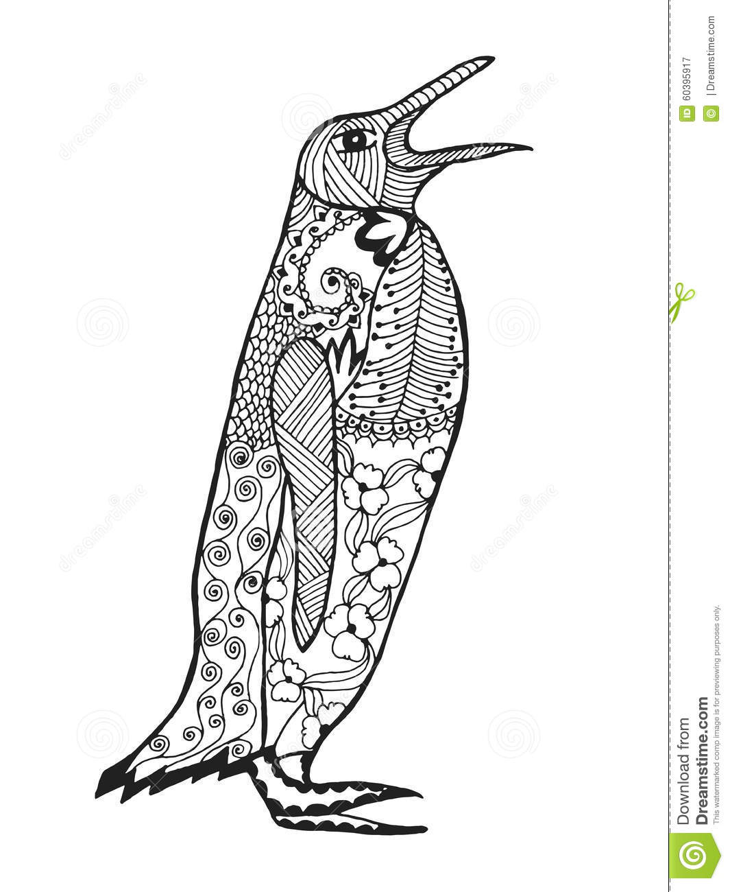 Zentangle stylized penguin sketch for tattoo or t shirt for Penguin adult coloring pages