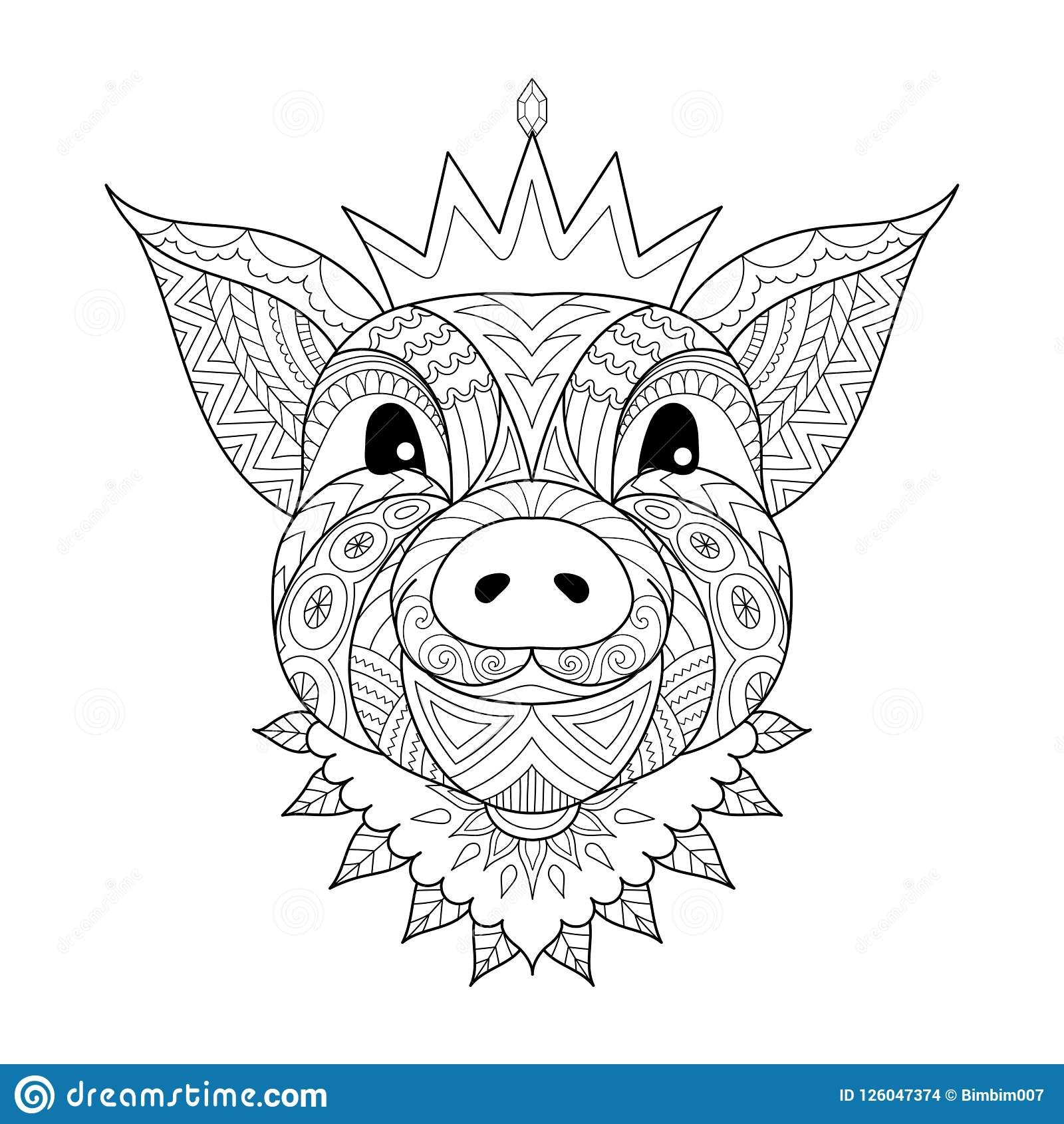 Pig Baby Wearing Crown The Chinese Sign Of Year 2019 For Coloring Book Page Printed