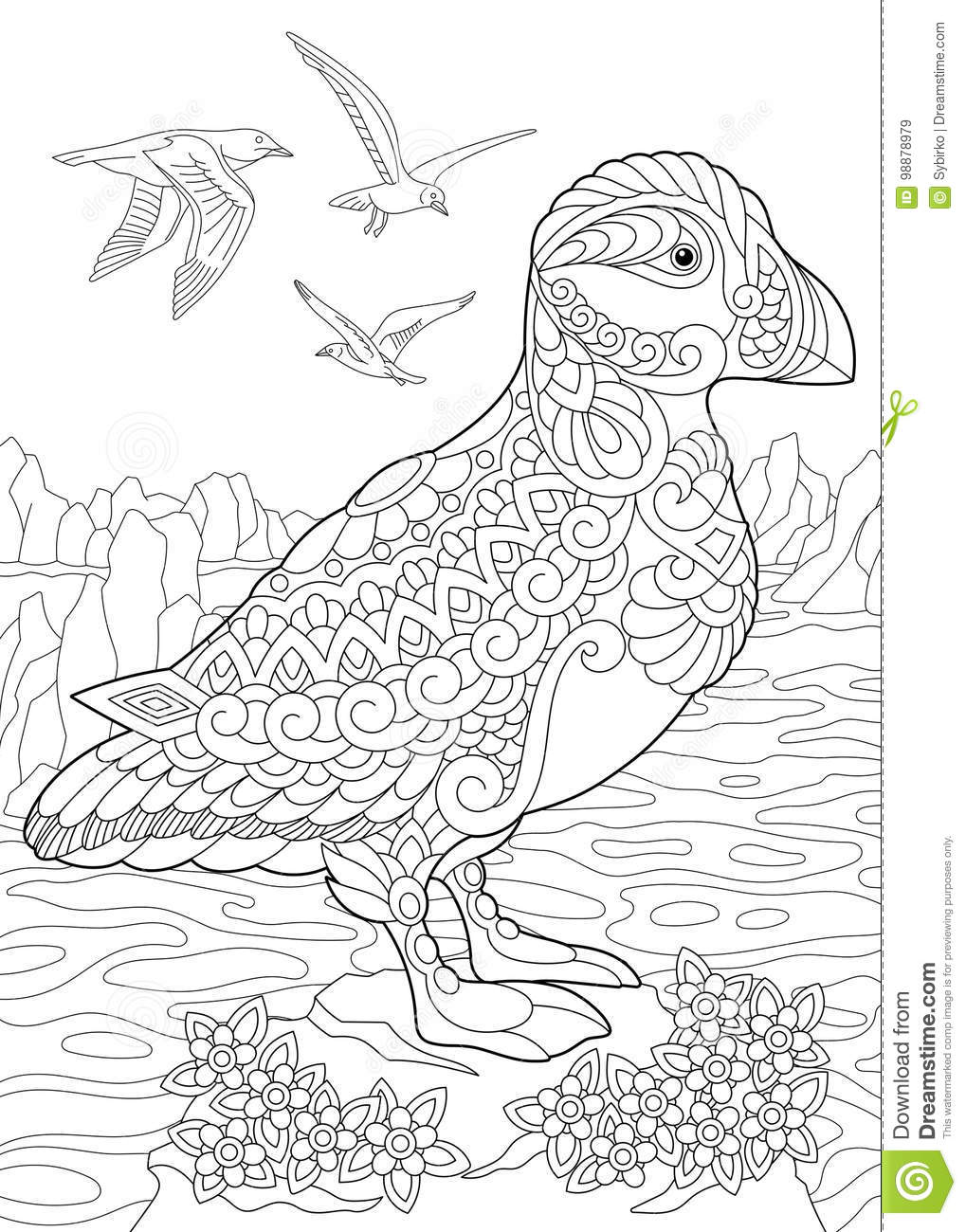 Zentangle Stylized Puffin Bird