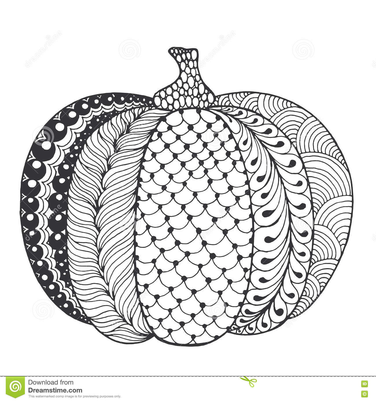 Zentangle stylized pumpkin stock vector illustration of for Pumpkin coloring pages for adults