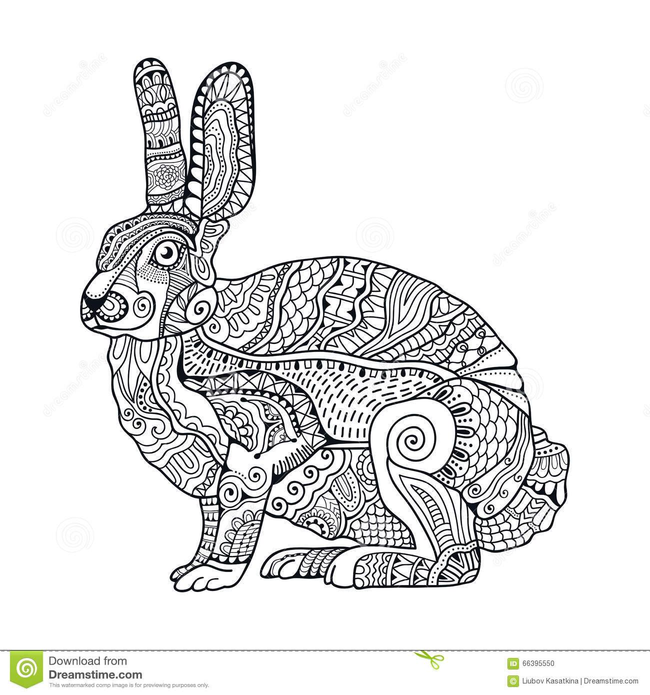 Zentangle Stylized Rabbit Hand Drawn Vintage Doodle Vector Illustration For Easter Illustration 66395550 Megapixl