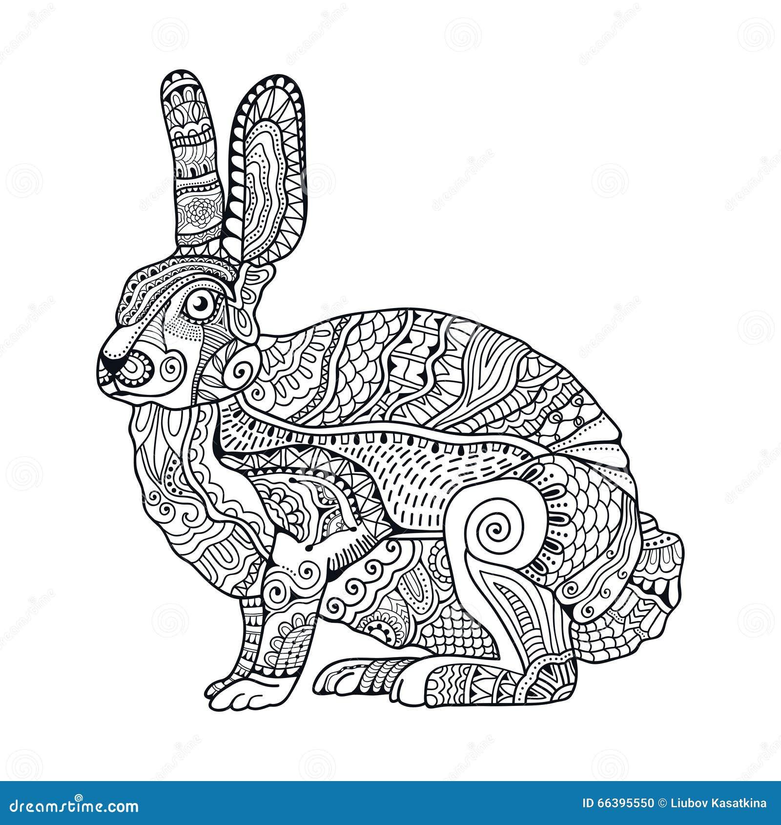Zentangle Stylized Rabbit Hand