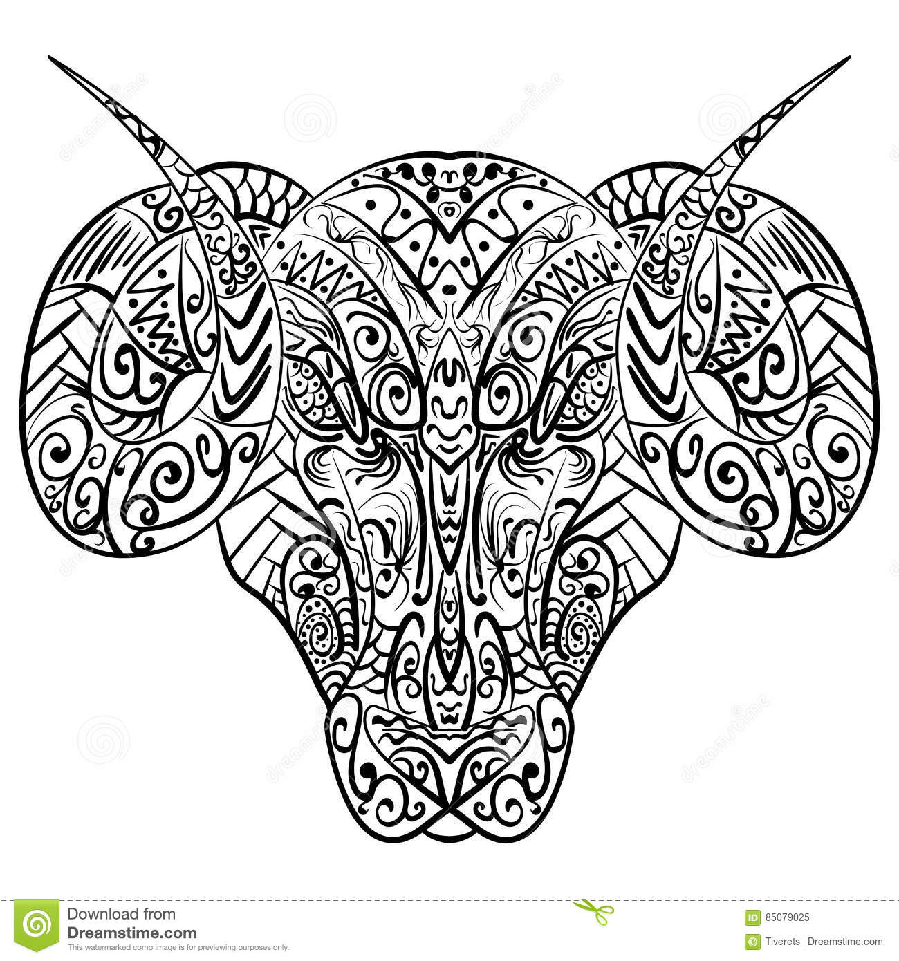 979f6f0ce Zentangle stylized cartoon goat ram head Hand drawn sketch adult antistress  coloring page zentangle vector illustration