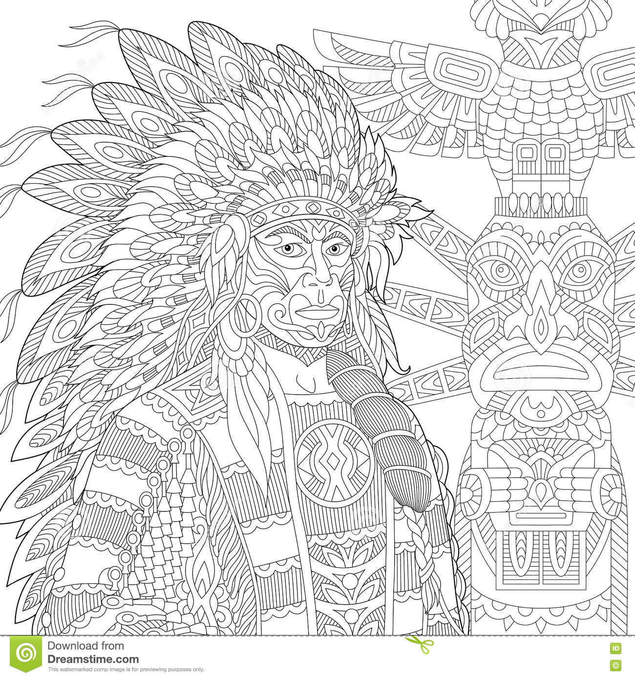 Zentangle Stylized Red Indian Chief Redskin Man Stock