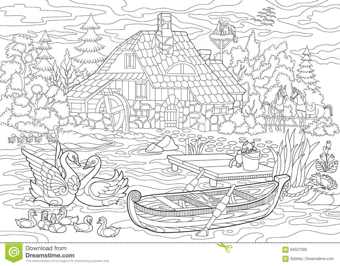 Coloring Book Page Of Rural Landscape Farm House Ducks Kitten Swans Horses Frog Storks Flock Seagulls Freehand Drawing For Adult Antistress