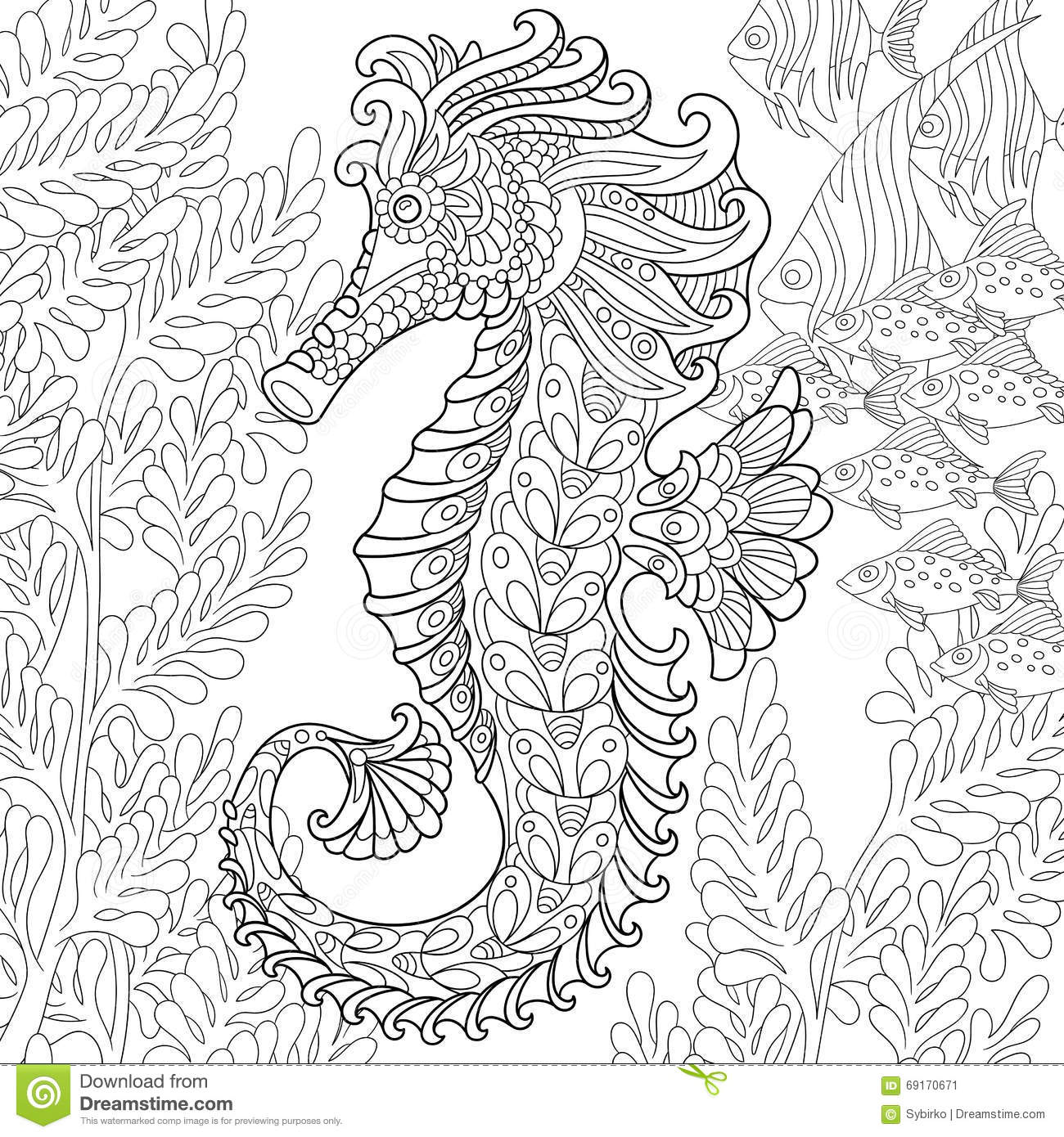 Zentangle Stylized Seahorse Stock