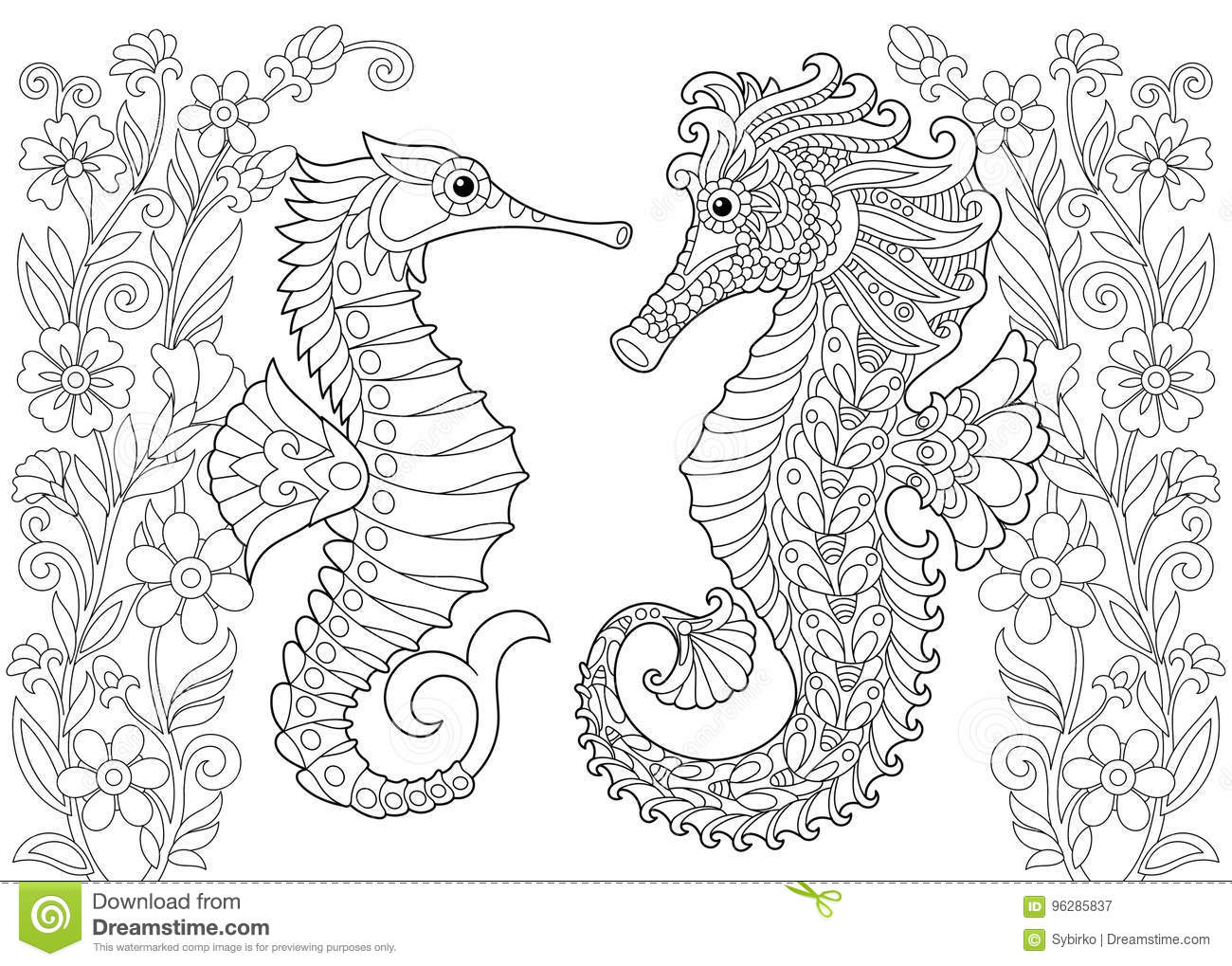 Zentangle Stylized Seahorse And Flowers Stock Vector - Illustration ...