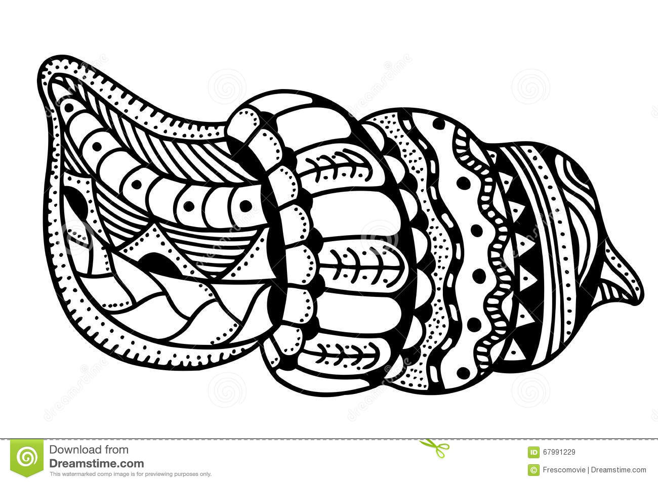 Zentangle Stylized Shell Stock Vector - Image: 67991229
