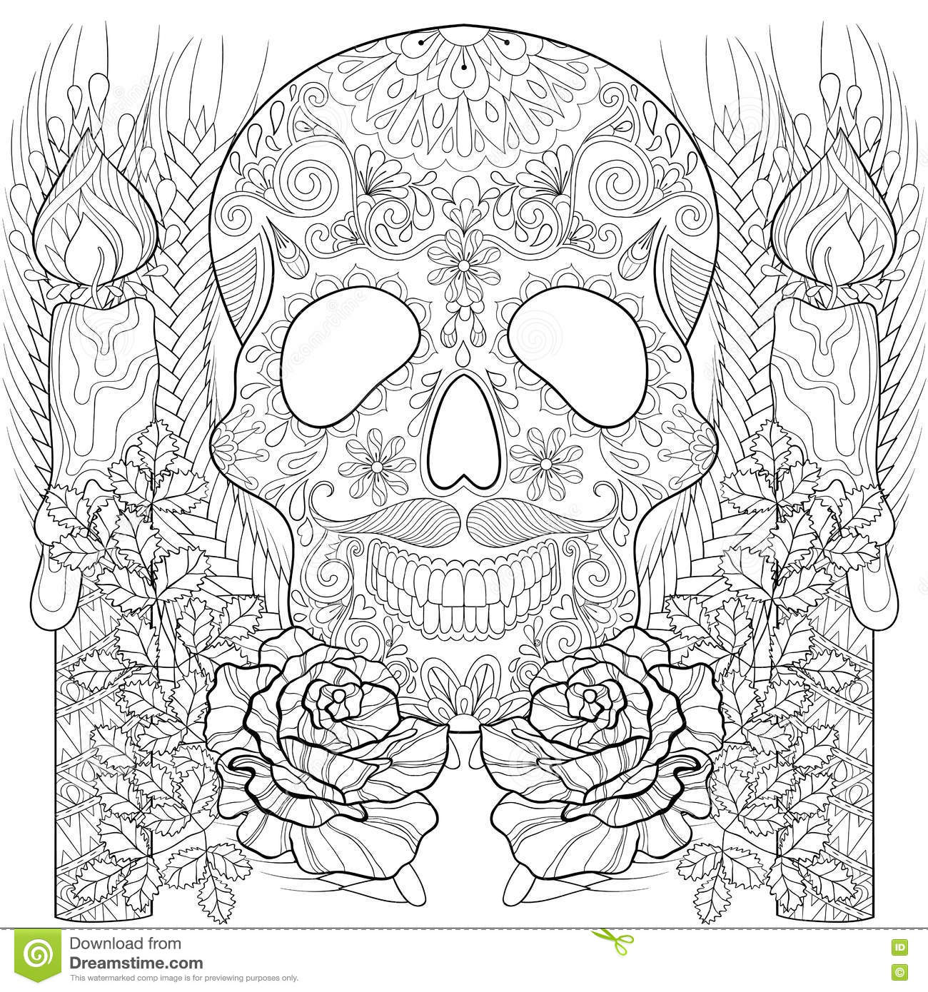 Zentangle Stylized Skull With Candles, Roses, Ears For Halloween ...