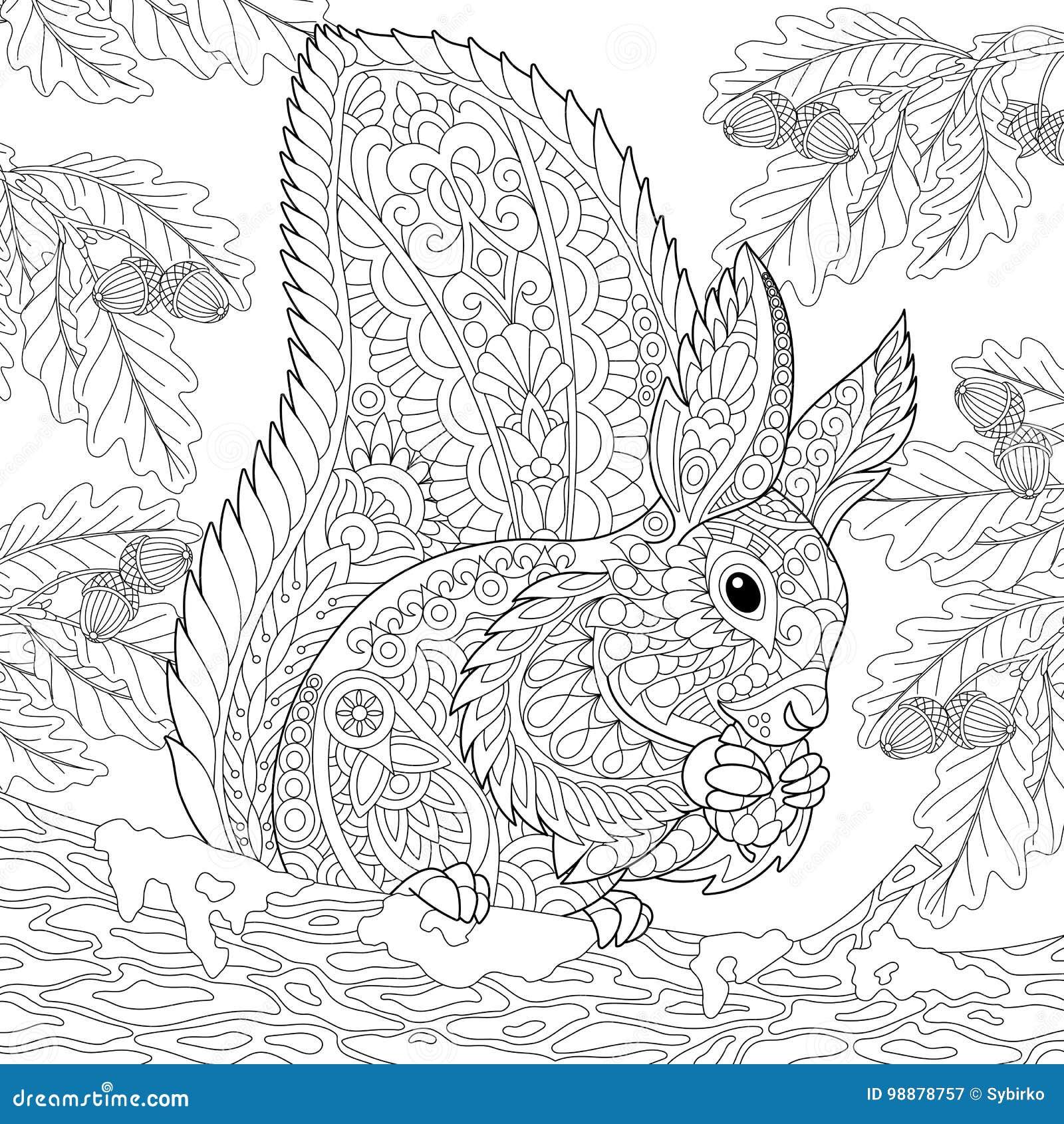 Zentangle Stylized Squirrel Stock Vector
