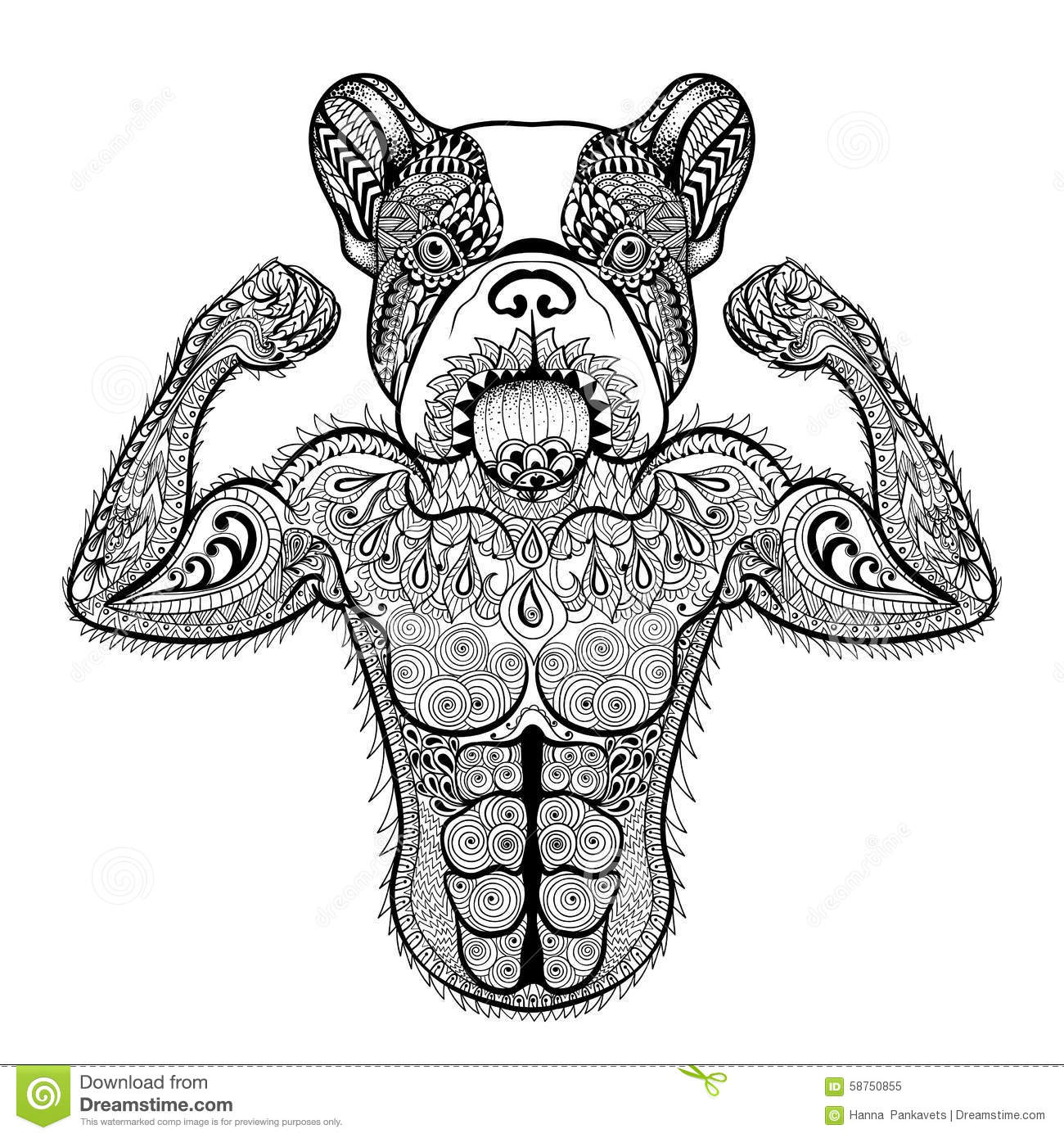 zentangle stylized strong french bulldog like bodybuilder hand stock vector illustration of. Black Bedroom Furniture Sets. Home Design Ideas