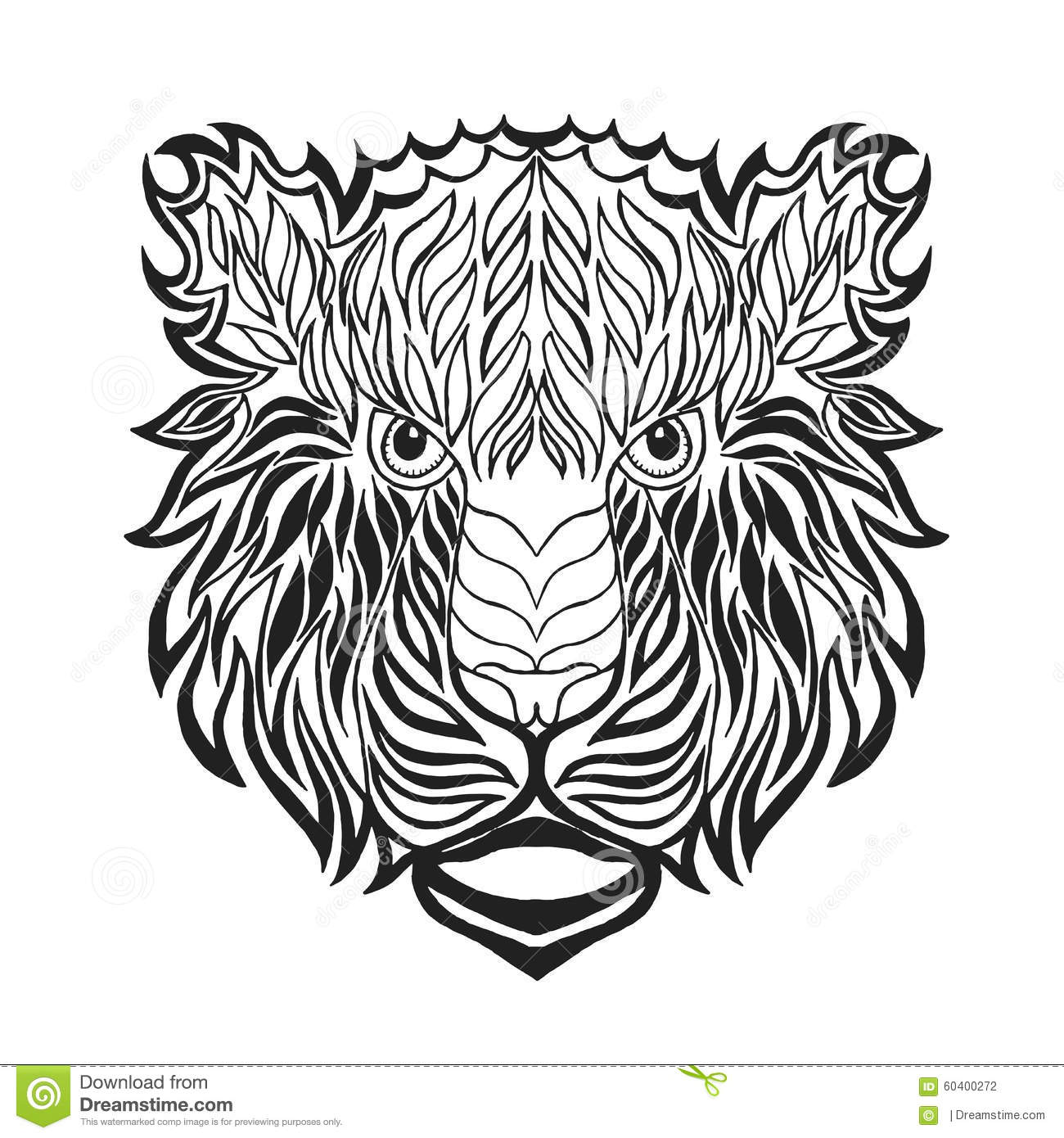 Download Zentangle Stylized Tiger Head Sketch For Tattoo Or T Shirt Stock Vector
