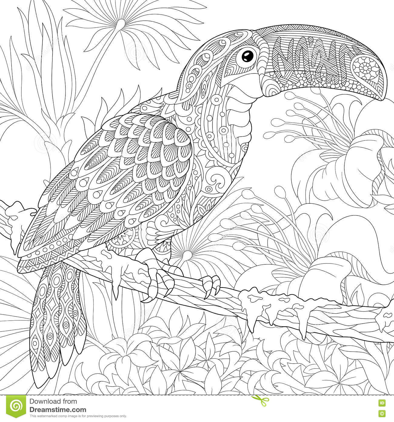 Perfect Zentangle Stylized Toucan