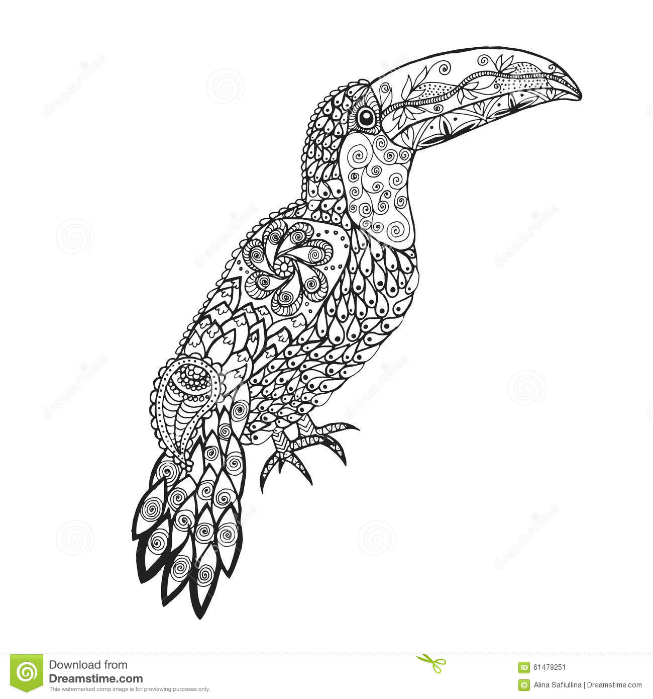 Zentangle Stylized Toucan Stock Vector