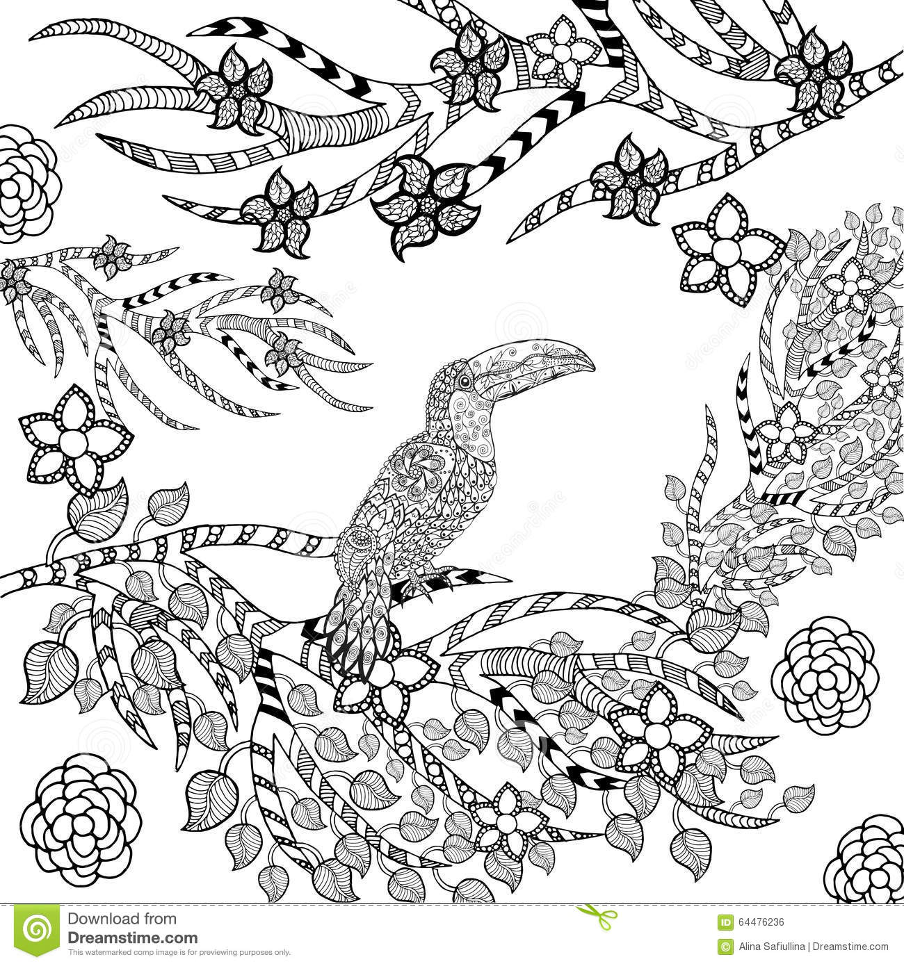 Zentangle Stylized Toucan In Flower Garden Stock Vector