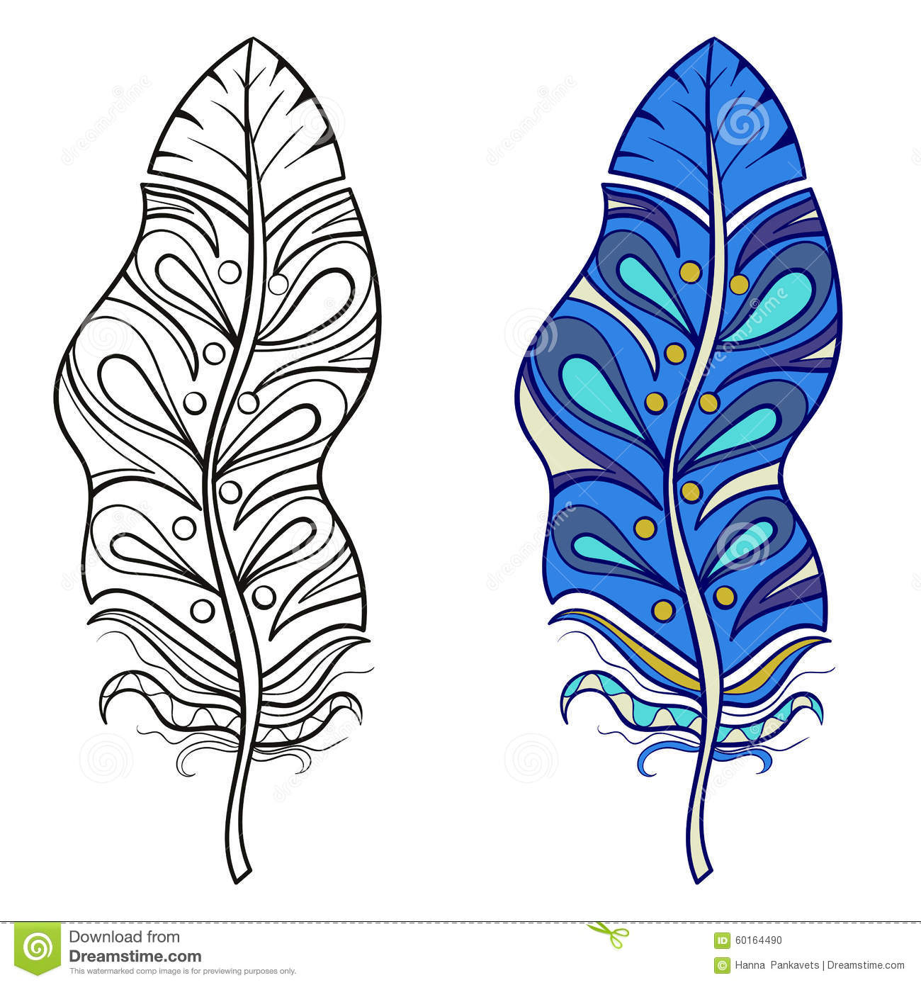 Zentangle Stylized Tribal Feather For Coloring Page. Stock Vector ...