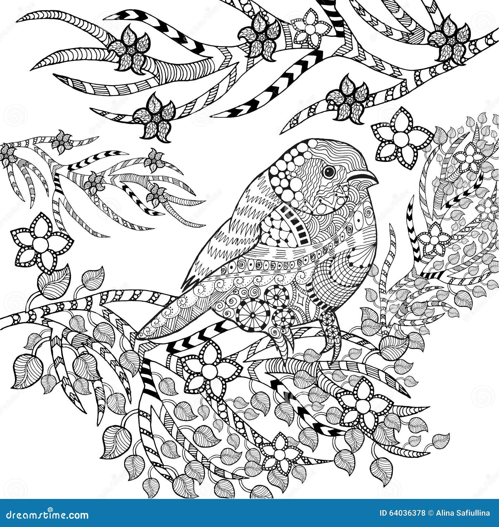 Zentangle Stylized Tropical Bird In Flower Garden Stock