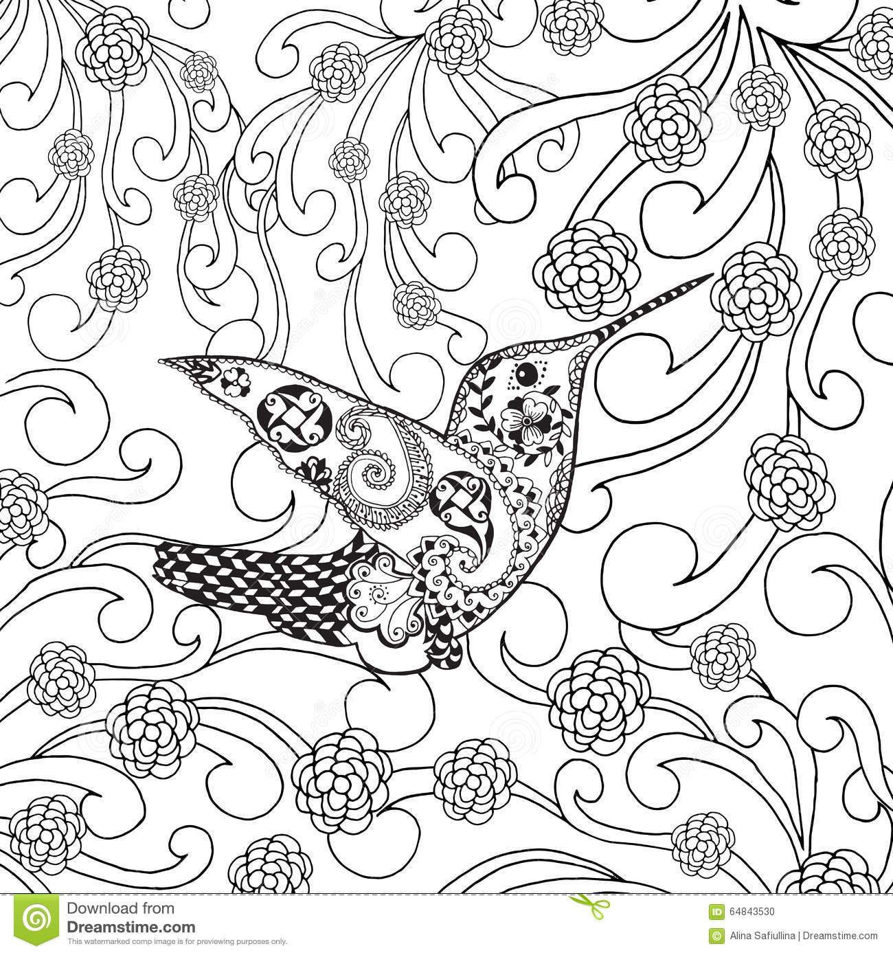 Garden Animals Coloring Pages : Zentangle stylized tropical bird in flower garden stock